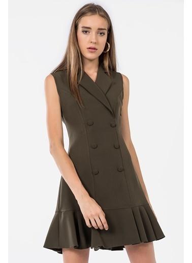 İroni Kolsuz Blazer Elbise Haki
